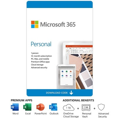 Microsoft 365 Personal - Box Pack - 1 Year - 1 Person - Medialess, P6 - Win, Mac, Android, iOS - English